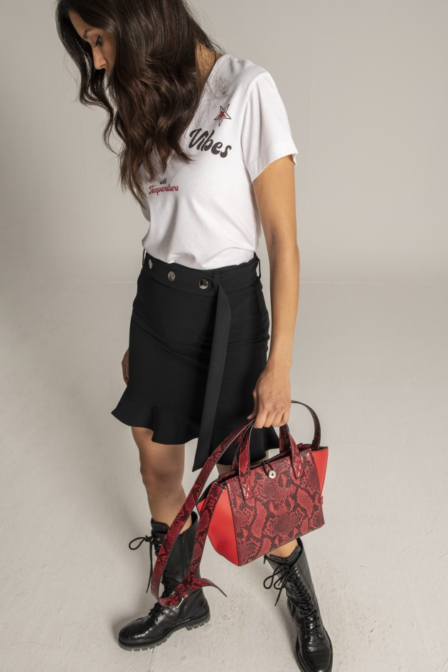 Ruffled mini skirt with belt