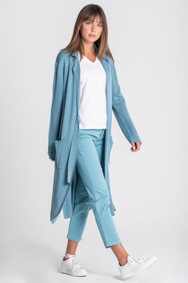 Knit coat with belt