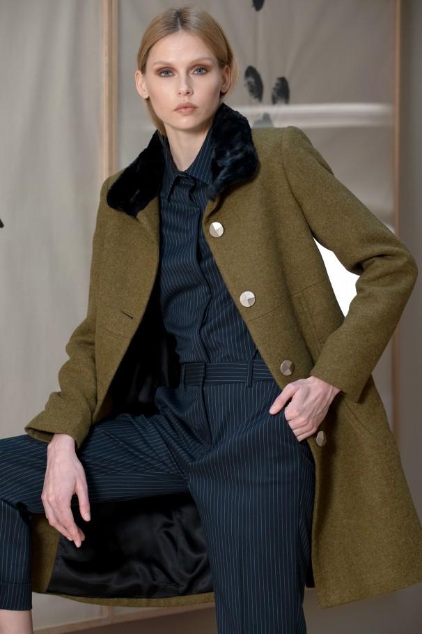 Abrigo lana cuello efecto pelo